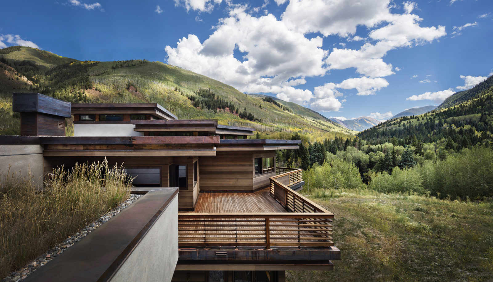 Aspen mountain, modern architecture and green roof landscaping, Conundrum Creek and Castle Creek Valley