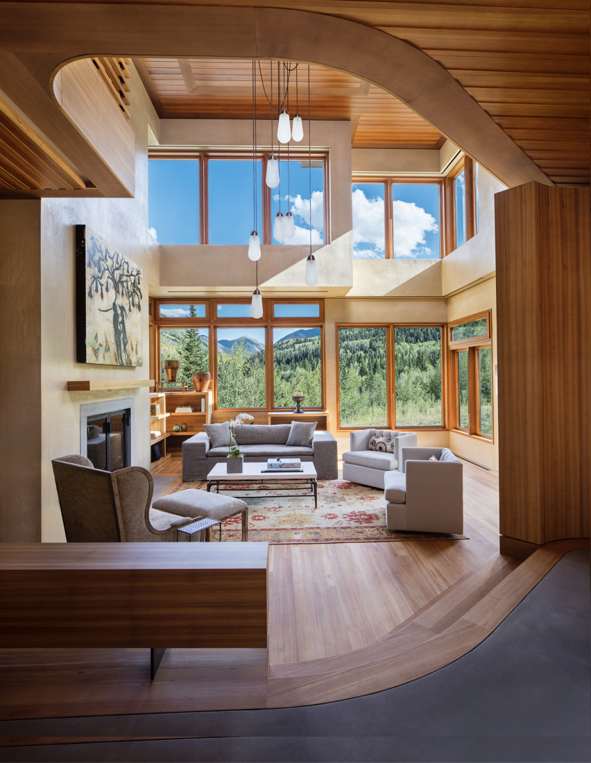 Aspen Custom architecture and interior design for a contemporary modern home in the mountains with heart pine floor and Albertini windows