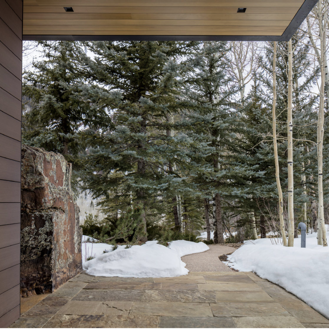 Aspen Custom Landscape Design Project with forest restoration and a boulder rock feature for Residential Setting